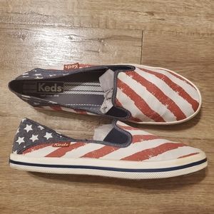 Keds red white & blue cavas loafers